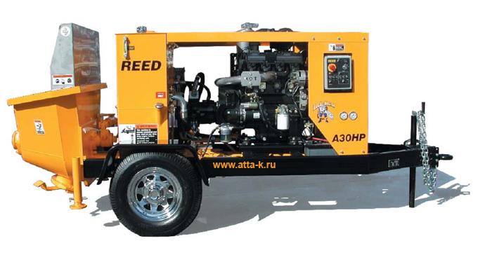Бетононасос  REED (США) A30НР 23 куб.м/час в исполнении на колёсах с прицепным устройством или без.  Дизель  Perkins 61 кВт/82л.с. 4-х цилиндровый с водяным охлаждением.