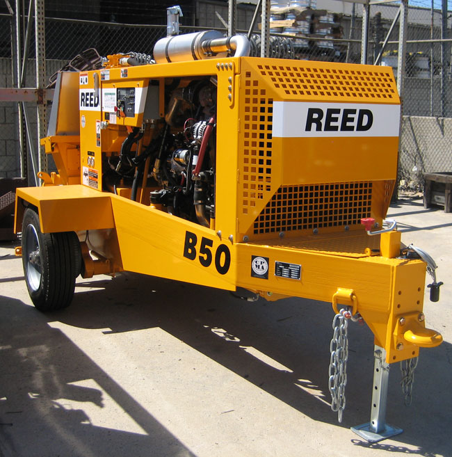 Бетононасос  REED (США) B50 38 куб.м/час Выходной коллектор диаметром 127мм. Подача: горизонт 365 м, вертикаль 137м.