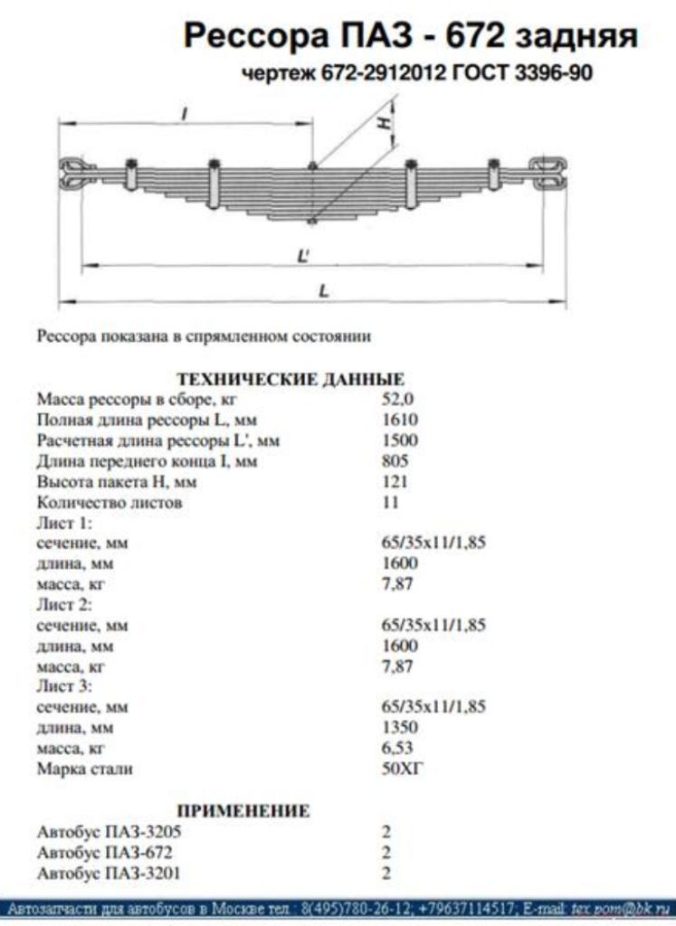 Рессоры для автобусов ЛиАЗ, ЛАЗ, КАВЗ, ПАЗ АВРОРА, МАЗ, Икарус, Форд