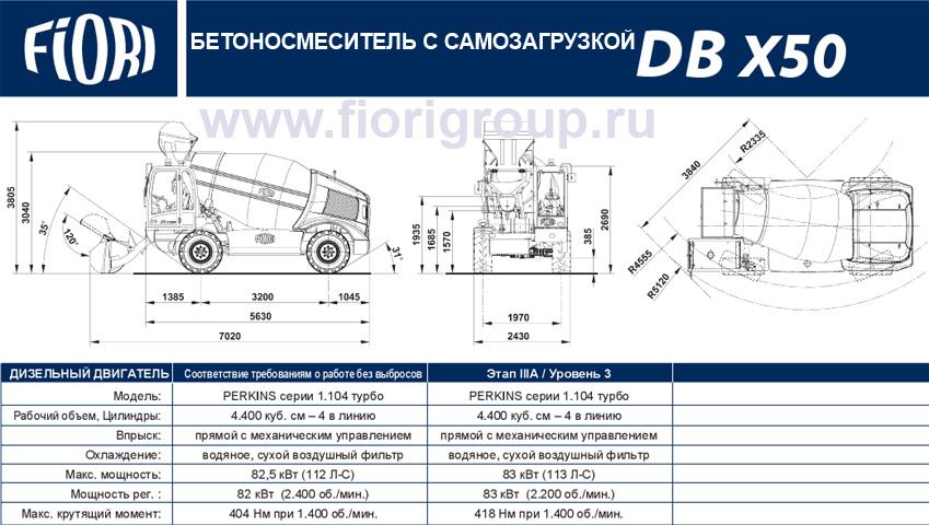 Бетоносмеситель с самозагрузкой Fiori DBX50 мобильный бетонозавод 20 м3/час