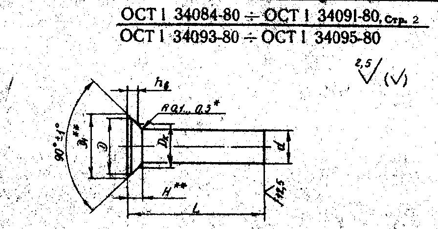 Заклепки с потайной головкой углом 90* ОСТ 1.34084-80, 1 34086-80, 1 34087