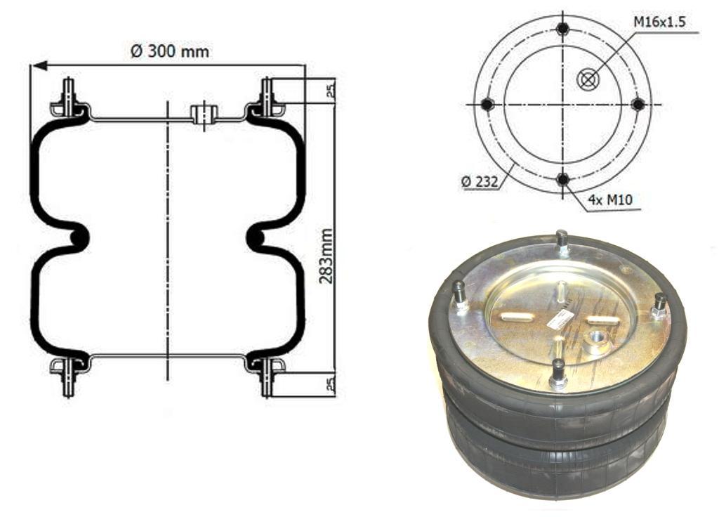 Пневморессора 2-х секционная тип 305-280 для подвесок и амортизаторов кабин