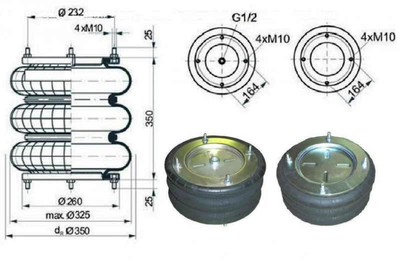 Пневморессора 3-х секционная тип 325-350 для пневморессор автобусов