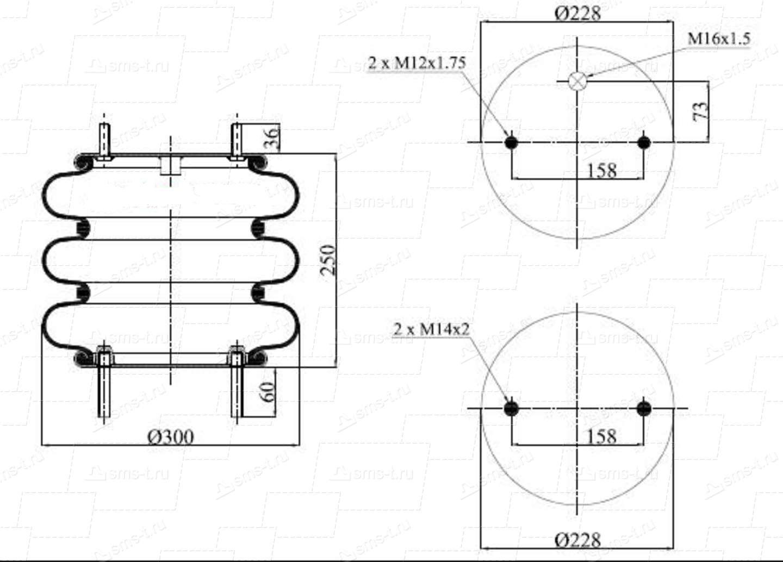 Пневморессора 3-х секционная тип 300-250 для подвесок и амортизаторов кабин
