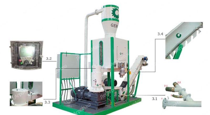 Линия оборудования для производства топливных пеллет MPL 300 (400 кг/час) -