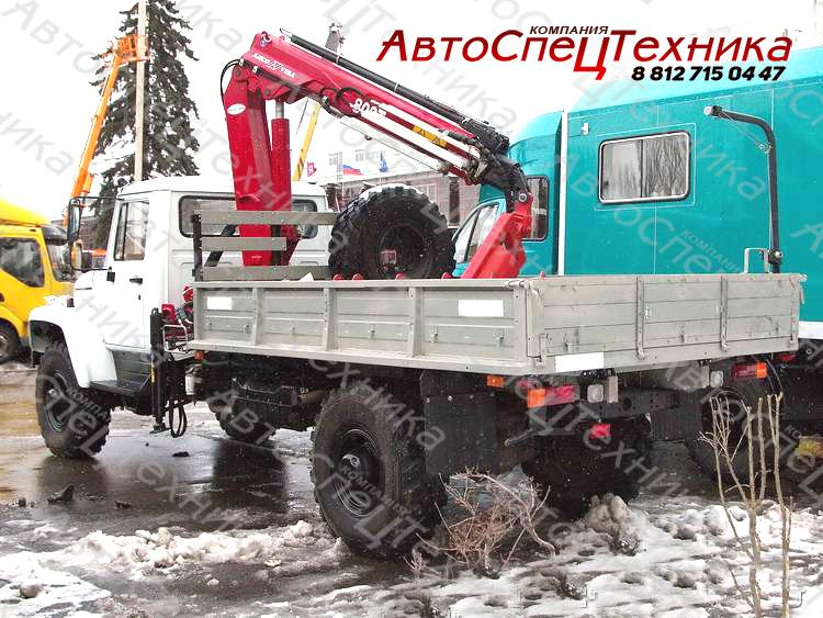 ГАЗ-33081 (бортовой) с манипулятором Amco Veba 809T-2S с буром