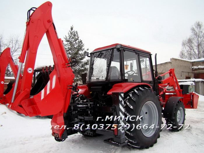 Экскаватор бульдозер погрузчик ЭБП-9 и экскаватор ЭБП-11 со смещаемой осью копания на базе промышленного трактора МТЗ-92П или МТЗ-82П.
